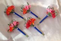 5 X ARTIFICIAL RED PINK ORANGE GERBERA WEDDING FLOWER GIRL BOUQUET WAND FLOWERS
